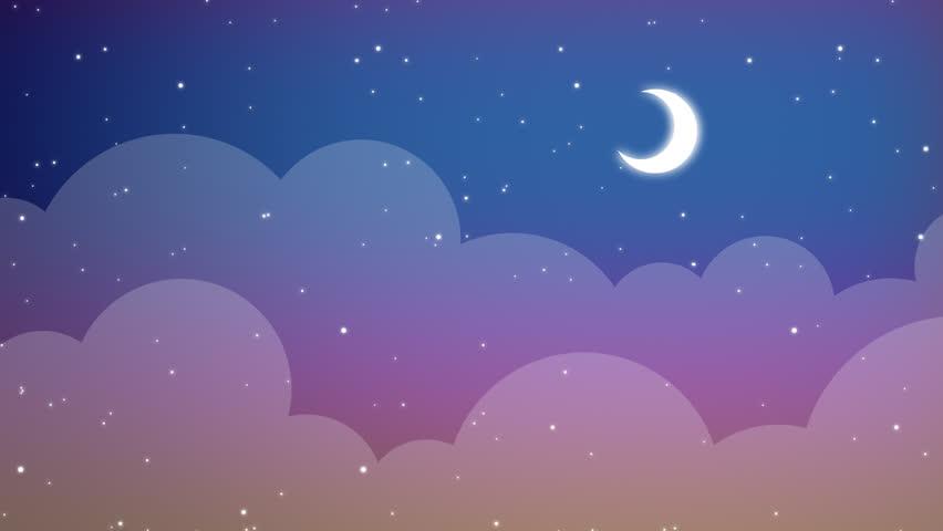 a cartoon style midnight sky with stars stock footage