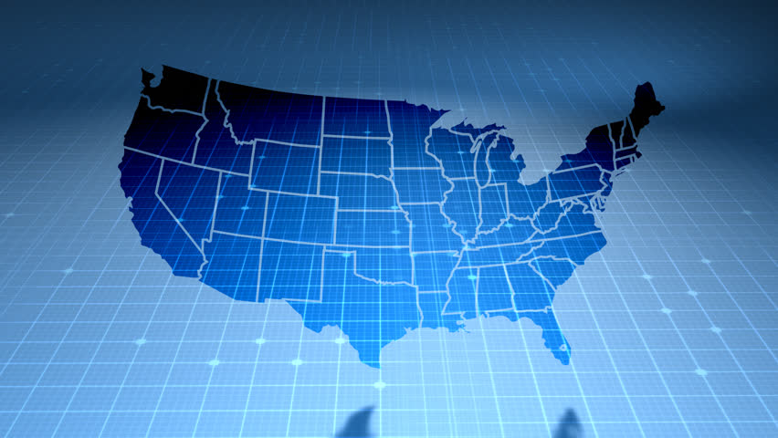 USA Map On Blue Background Of Networked Flashing Dots And Lines - Cool us map with dots