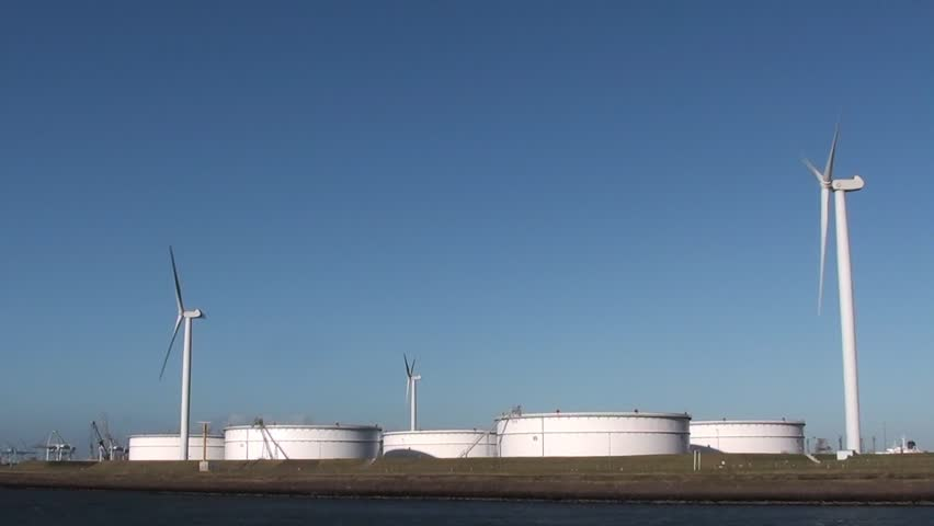oil depot and wind turbines
