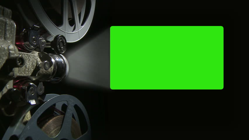 Film projector with 16 x 9 aspect ratio chroma key green screen #1940677
