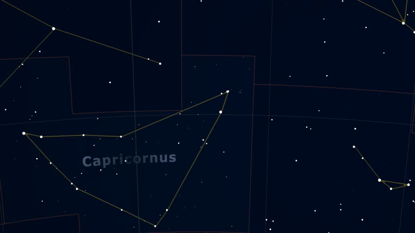 Constellation of Capricornus. Bright stars (up to 6.5M) - vector shapes. Constellation figures and boundaries. Equator, ecliptic and galactic equator reference lines | Shutterstock HD Video #19406977