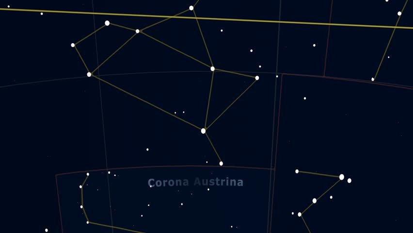 Constellation of Corona Austrina. Bright stars (up to 6.5M) - vector shapes. Constellation figures and boundaries. Equator, ecliptic and galactic equator reference lines | Shutterstock HD Video #19407484
