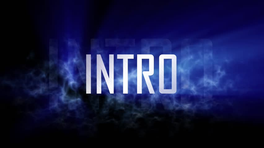 """Intro title. 10 seconds loopable intro with cloud of smoke, light rays pass through the word """"Intro"""" and smoke. 