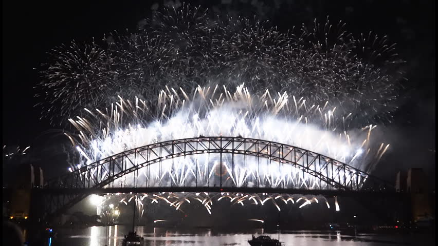 New Years Eve fireworks on Sydney Harbour Bridge at 60fps-4 | Shutterstock HD Video #1941097