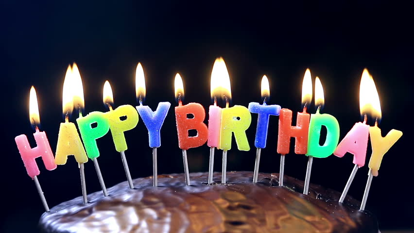 Lighted Candles On A Happy Birthday Cake Candles Royalty Free Video