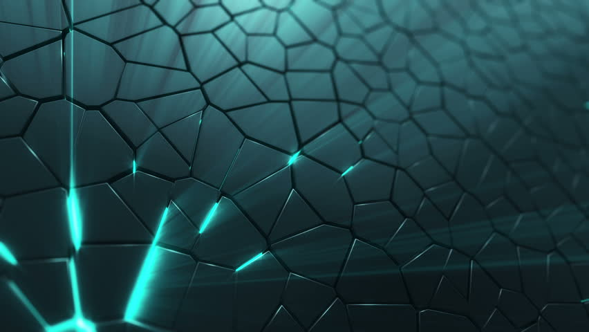 Abstract background with animation moving of dark triangles with glowing light from backdrop. Technologic backdrop with plastic surface. Animation of seamless loop. | Shutterstock HD Video #19444507