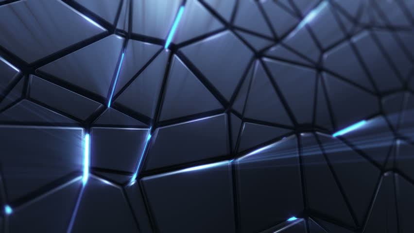 Abstract background with animation moving of dark triangles with glowing light from backdrop. Technologic backdrop with plastic surface. Animation of seamless loop. | Shutterstock HD Video #19444717
