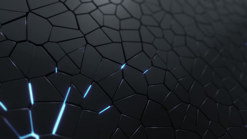 Abstract background with animation moving of dark triangles with glowing light from backdrop. Technologic backdrop with plastic surface. Animation of seamless loop. | Shutterstock HD Video #19444777