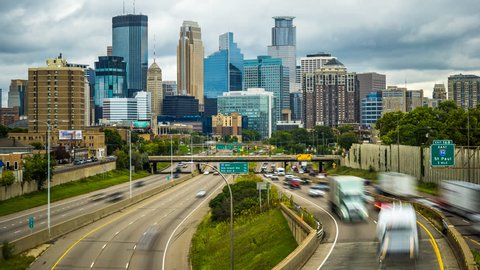 Minneapolis Skyline Traffic Time Lapse Logos Removed 1080p 4k 35w - Freeway day  time lapse in Minnesota