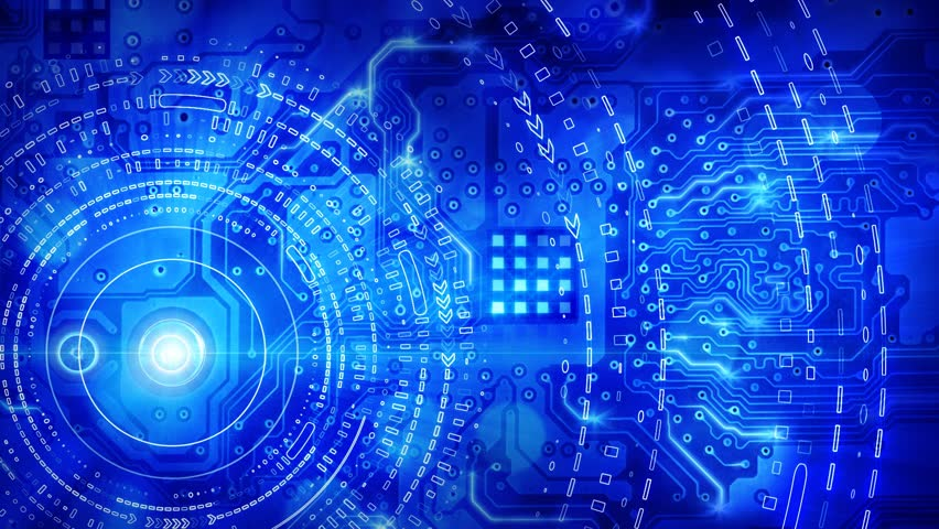 Blue computer circuit board background loop | Shutterstock HD Video #1947397
