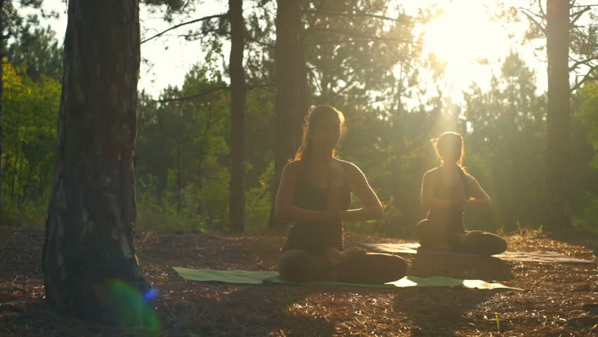 Girls meditating practicing yoga at sunset in forest Padmasana Slow motion | Shutterstock HD Video #19497637