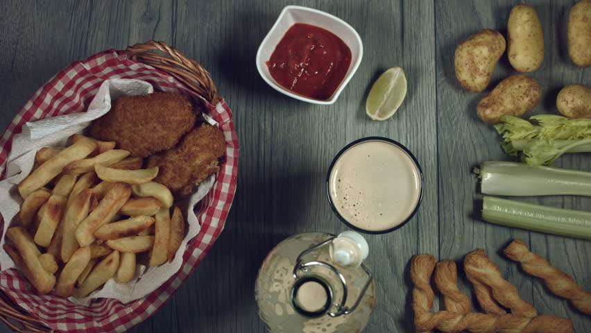 4k Traditional Irish Fish and Chips with Guinness, Taking Fries