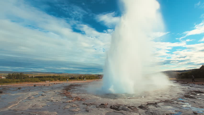 Rare double eruption of the famous Strokkur Geysir - Geyser in Iceland