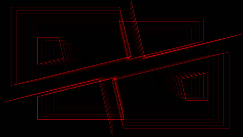 Plane divided to solid peaces that animates slowly back and forth. 4 four peaces. Red outlined look and black background. Tunnel effect. Looping animation. | Shutterstock HD Video #19602316
