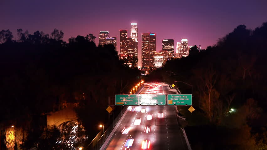 Los Angeles freeway traffic at night.