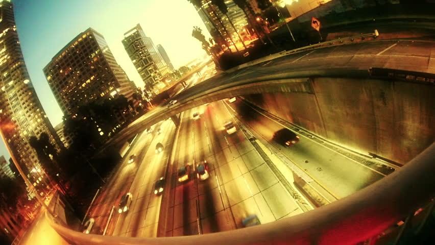 Los Angeles city freeway traffic
