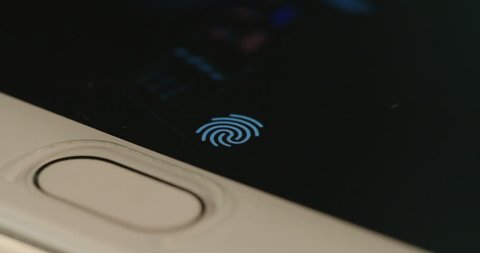 Fingerprint security screen unlocking on a smartphone