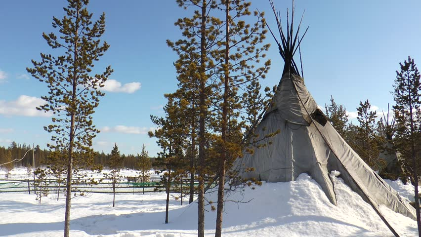 Snowcovered Sami tents is in the winter forest bright sunny day. - HD stock video & Snowy Sami Tent Stands In The Winter Forest Bright Sunny Day ...