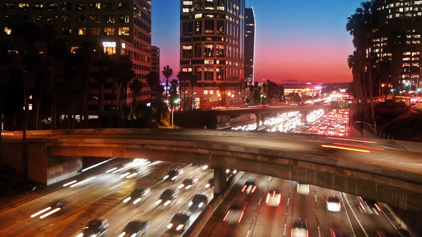 Los Angeles traffic, timelapse.
