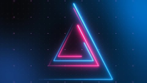 Neon Triangular Electric Techno Lights. Blue and Pink Laser beams with grid. Seamless loop. Very useful for backdrops.