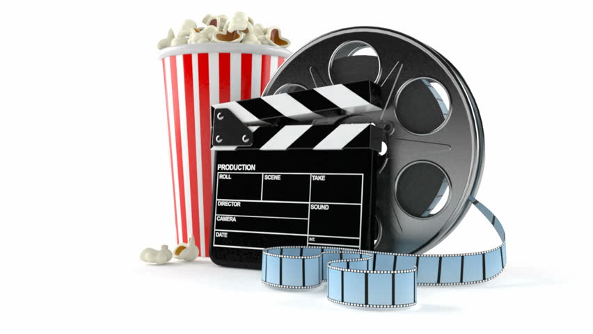 Film reel with popcorn and clapboard isolated on white background