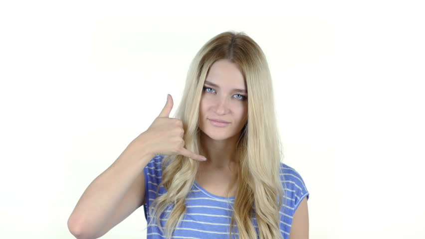 Call me Gesture by Woman , join me, help line, White Background | Shutterstock HD Video #19814437