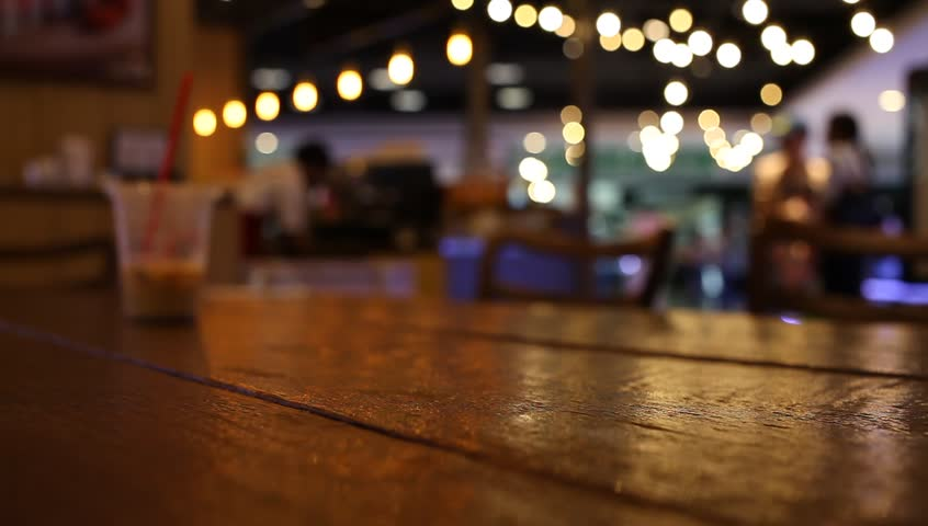 Table At Restaurant Blurred Background Stock Footage Video ...