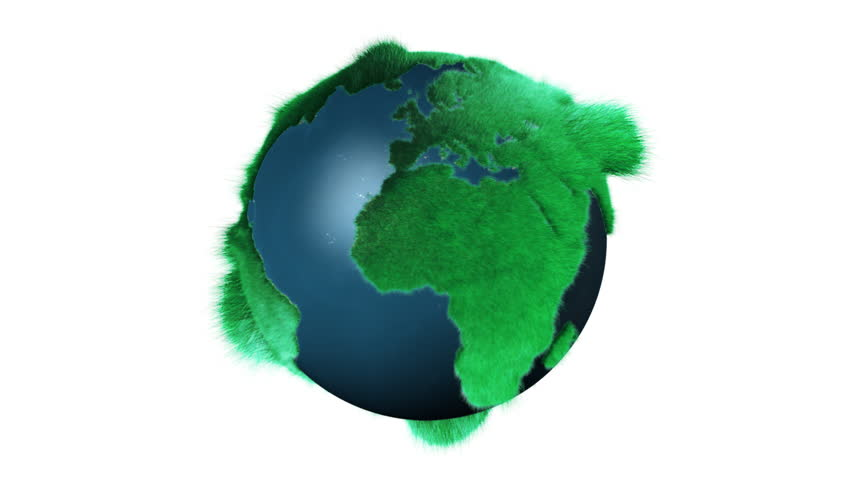 Global ecology animation green grass forms a world map gray earth simulation with fur on it alpha matte included gumiabroncs Images