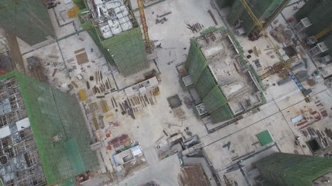 Overhead aerial view of a construction site for new apartment buildings in suburban Shenyang, China