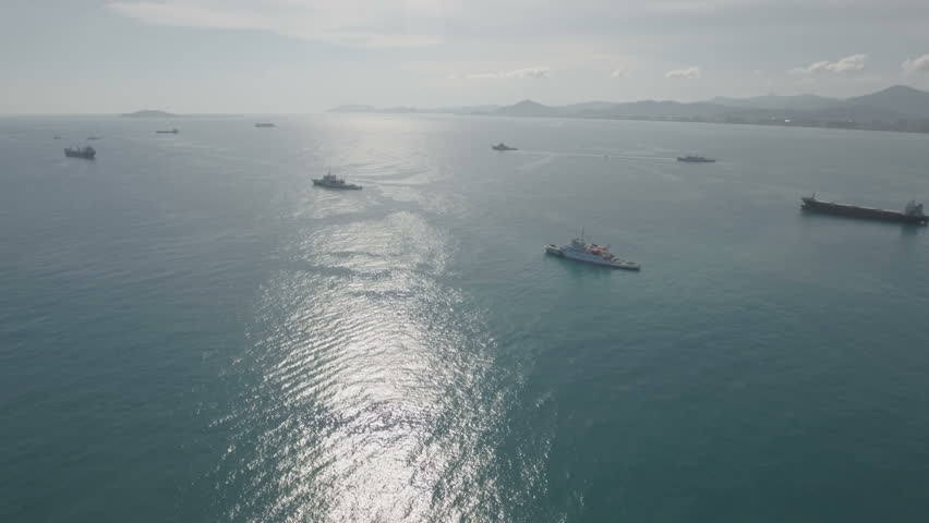 Aerial view of a flotilla of Chinese coast guard vessels, anchored in Sanya on Hainan island. China claims vast areas of the South China Sea, often conflicting with other countries in the region.