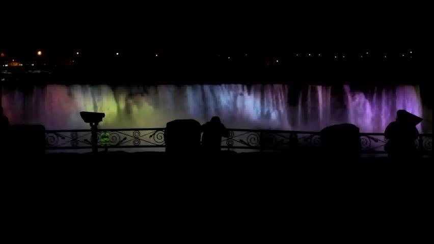Niagara Falls - American Falls nighttime with colored lights