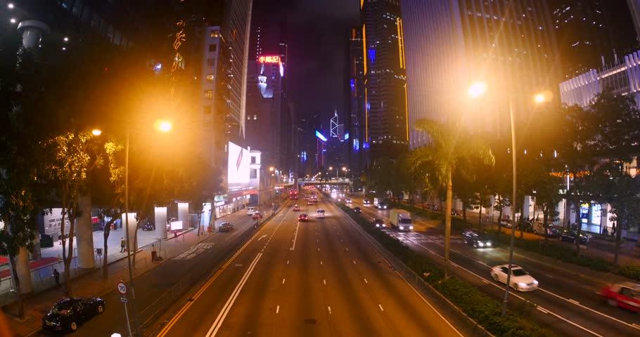 HONG KONG, CHINA   CIRCA NOVEMBER, 2015: Traffic And Skyline At Night Time