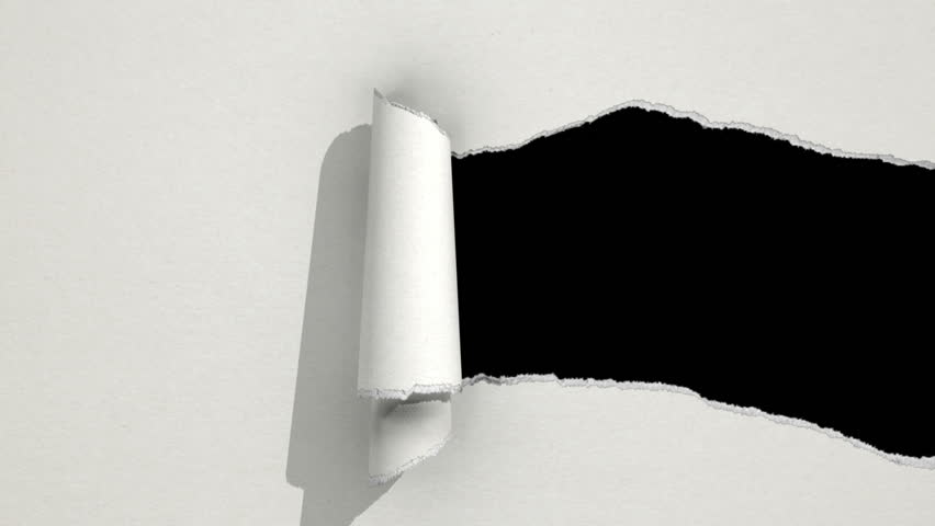 Ripping white paper animation with matte. - HD stock footage clip