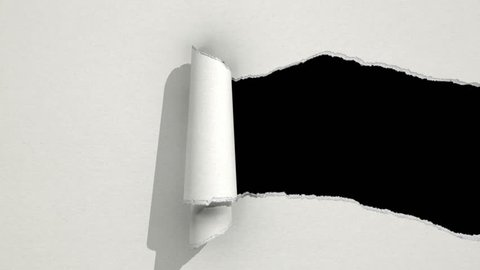 Ripping white paper animation with matte.