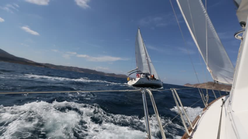 Sailing race. Yachting in the Aegean sea. Luxury yacht.