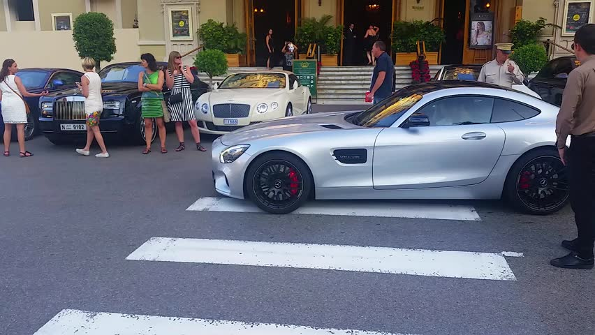 Monte Carlo Monaco September 26 2016 Luxury Sports Car Mercedes Amg Gt S V8 Parked In Front Of The French Riviera