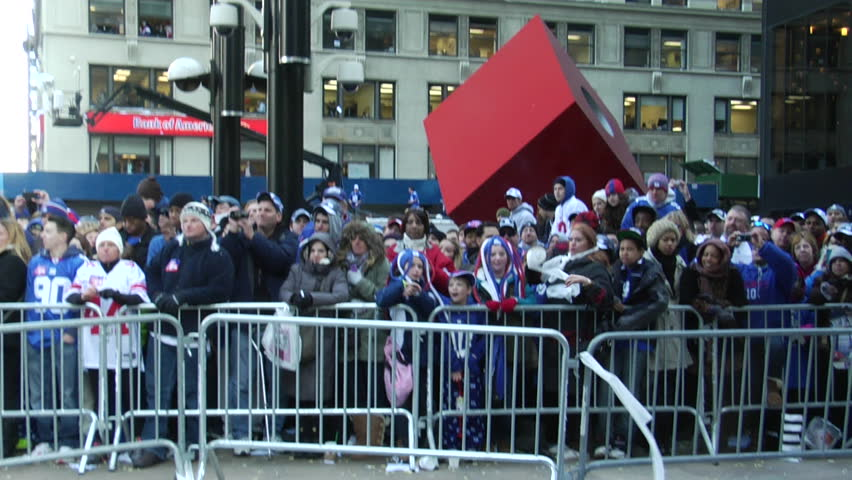 NEW YORK - FEBRUARY 7: Fans at the ticker-tape parade in honor of the Super Bowl Champions New York Giants on February 7, 2011 in New York.