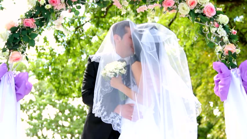 Stock Video Of Bride And Groom Kissing During Their