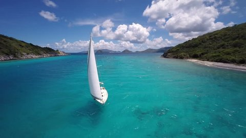 aerial video of group of people sailing and relaxing, St John, United States Virgin Islands