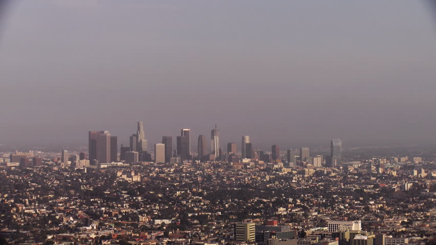 Wide shot of Downtown Los Angeles on a hot summer day. | Shutterstock HD Video #19971427