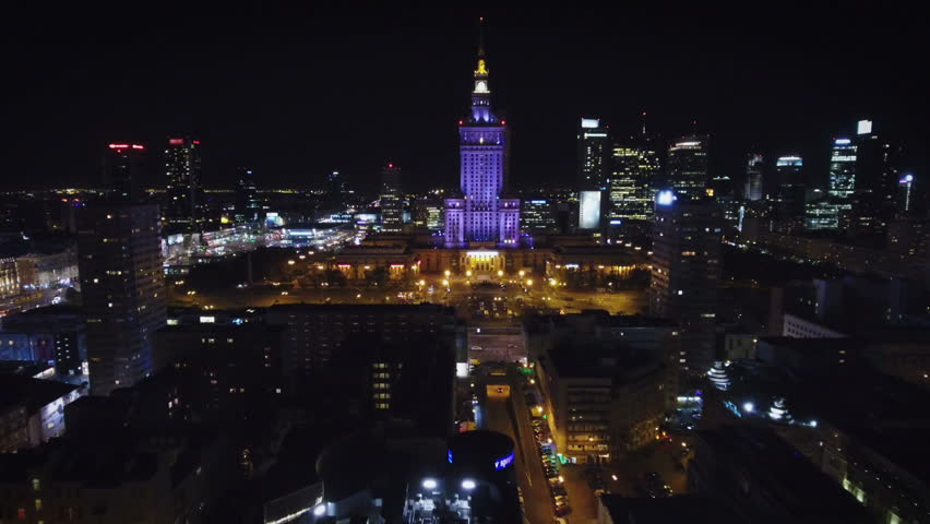 Aerial view of Warsaw, Poland at Night