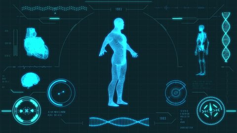 Blue futuristic medical user interface with HUD and infographic elements. Virtual technology background. Head-up display template for business, games, motion design, web and app. Human anatomy scan.
