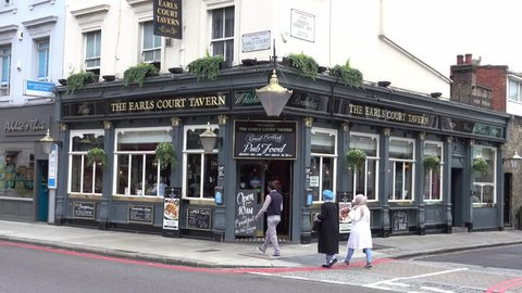 Typical English Pub or Irish pub at Earls Court London - LONDON / ENGLAND - SEPTEMBER 16, 2016