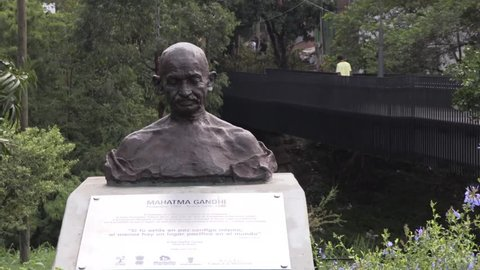 Close up of head bust of Mahatma, Gandhi