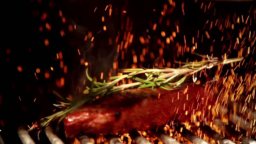Frying barbecue in slow motion