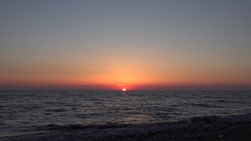 4K Ocean Sea Sunset Beach, Sunrise, Sundown, Dusk, Seashore Waves Seascape View