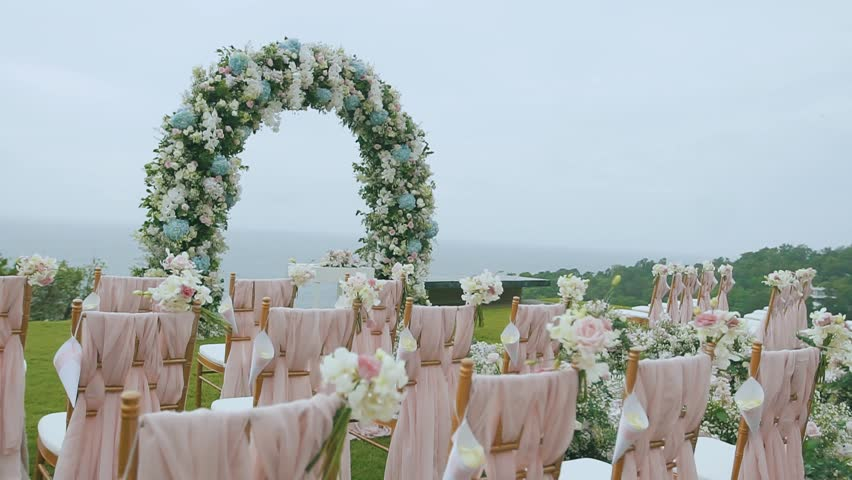 Wedding Arch Decorated With White And Blue Flowers Before The ...