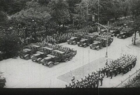 EUROPE - CIRCA 1942-1944: World War II, Hitler Watches Nazi Soldiers