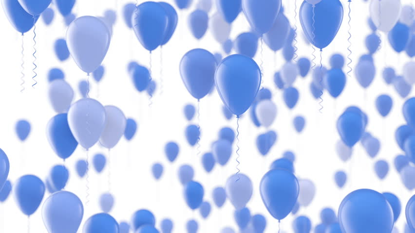 Group Of Blue Birthday Balloons Rising On White Background Seamless Loop
