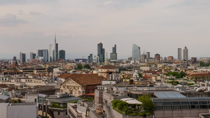 Milan, Italy: Business district skyline at sunset timelapse